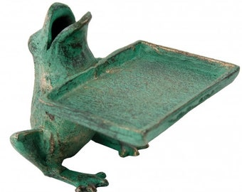 Frog cast iron card holder