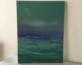 Original Painting-Emerald Sea -Blue Green -  atmospheric  -24 x 18 Stretched Canvas- 1-1/2 Inch Gallery Wrapped Painted Sides