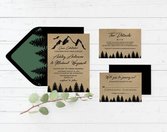 Mountains Forestry Kraft Paper Printable Wedding Invitation Suite, Trees, Next Adventure, Forest Custom Printable Wedding Invite Set