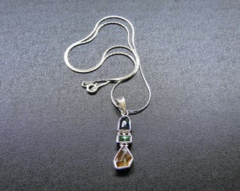 925 Silver Handmade Pendant With Natural Tourmaline and Rough Sphene Gemstones Alongwith Silver Chain