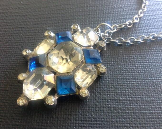 Vintage Art Deco Sapphire Blue & Crystal Diamond Silver Tone Pendant Necklace c.1930's