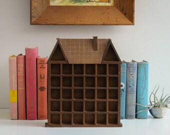 Vintage Wooden House-Shaped Wall Shelf - Curio Shelf