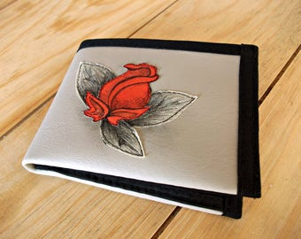 Red Rose, Flower, Handmade Personalized Wallet, Hand Painted, Vegan Friendly, Vegan Leather, Ladies Leather Wallet, Boho, UNUSUAL