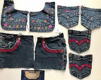Pockets Reclaimed Blue Jean Denim Lot of 8