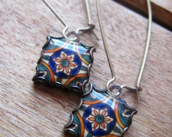 Dangle earrings, Morocco, Portugal, Spain, Mexico, Mediterranean ceramic tile design, pottery design, Global fashion