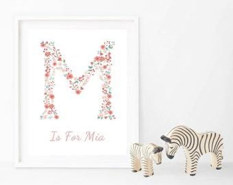 Floral Letter Print