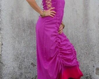 Dress for womens ~ Natural clothing ~ Nuno felt edged dress ~ Woodland clothes ~  Fairy costume ~ Maxi dress ~ Corset dress ~ Goddess dress