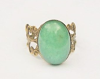 Handmade Green Ring Green Aventurine Gemstone Ring Green Stone Ring Green Oval Ring Green Gemstone Ring