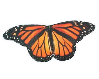 In Stock Vivid Monarch Butterfly Scarf 4.5 feet wide, Butterfly Cape, Fairy Wings, Butterfly Gift, Orange and Black
