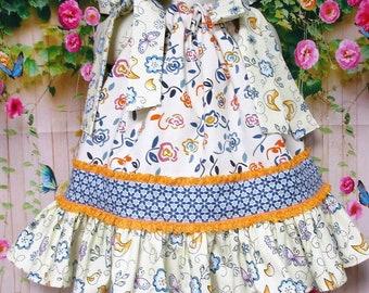 SALE-SALE Baby Girls Dress, Girls Dress 12M/18M Cream Blue Floral Pillowcase Dress, Pillow Case Dress, Sundress, Boutique Dress