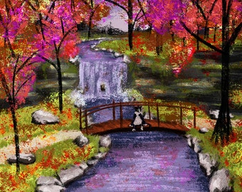 Bridge Cat - Giclee Print on Canvas and Paper