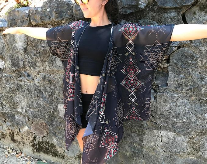 Sri Yantra Totem Draped Kimono