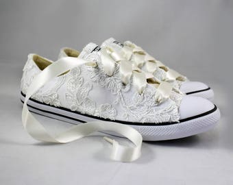Floral Ivory Lace Wedding Converse -Ivory Lace Bridal Converses --Floral Ivory Lace Converse -- Wedding Tennis shoes