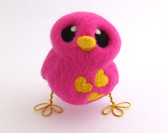 Needle Felted Pink Bird Design Your Own Pick Your Colours