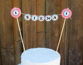 Mini Cake Banner Bunting Centerpiece for Birthday Cake, Baby Shower Mini Cake Bunting, Pink Cake Topper