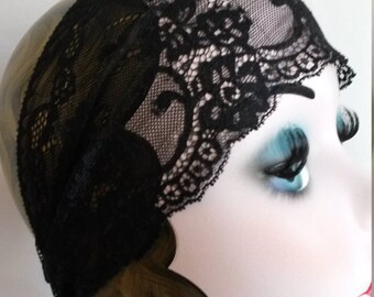 lace, black, lace headpiece, juliet cap, Great Gatsby, flapper, charleston, boho, gypsy, costume