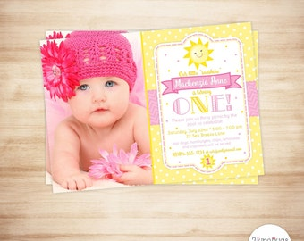 You Are My Sunshine First Birthday Invitation - Sunshine First Birthday Invite - Sunshine Photo Card - PERSONALIZED & PRINTABLE