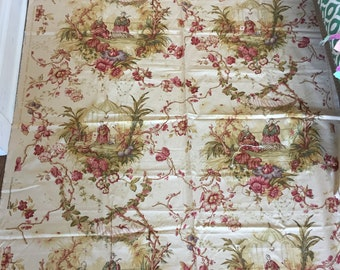 """Designer fabric remnant """"Royal Pavilion"""" Exclusive Greeff screen print Archive IV Collection"""