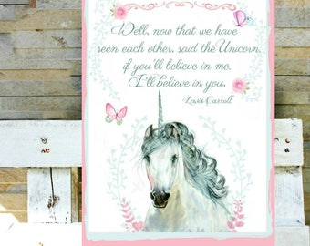 Watercolor Unicorn with quote or without quote.