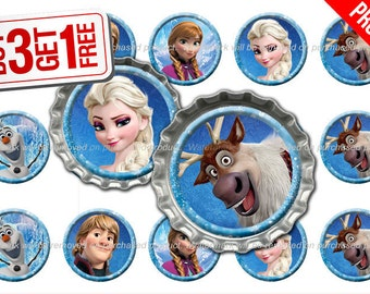Disney Frozen Bottle Cap Images - 1 inch size - Suitable for Hair Bows, Magnets, Scrapbooking, Stickers etc - High Resolution Images (006)