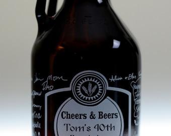 Custom Birthday HomeBrew Growler with Signatures Cheers and Beers art. Homebrew, Beer, Beer Gift, , Beer Glass, Beer Tools