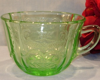 Madrid Green Depression Glass Cup