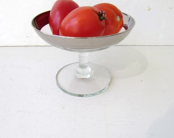 Vintage Silver Banded Compote - Mid Century Silver Banded Pedestal Dish - Clear Glass Silver Metallic Band - Candy Dish - Small Compote