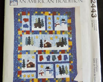 McCall's 2443 Quilt, Mantle Cover, Pillows and Stockings Sewing Pattern / Uncut/FF