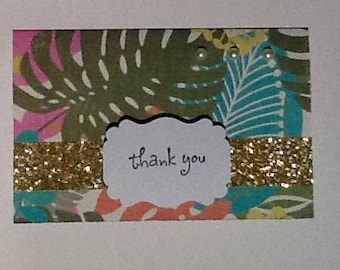 Thank you card, gold, palm, exotic, pearl, tropical