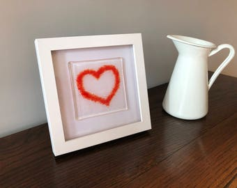Fused Glass Red Heart Art in Frame