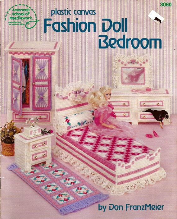 Fashion Doll Bedroom In Plastic Canvas For Barbie American school of ...