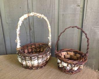 Birch flower girl basket/ flower girl basket/ wedding basket/ rustic basket/ woodland basket/ wedding accessory/ birch basket/ birch decor