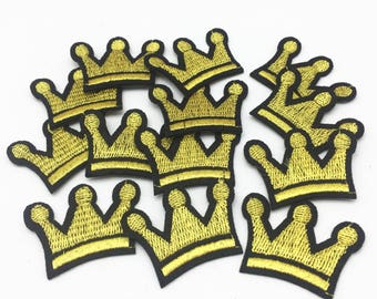 10pcs GOLD CROWN Girl Kids Jacket T shirt Patches Sew Iron on Embroidered Symbol Badge Cloth DIY clothes accessories