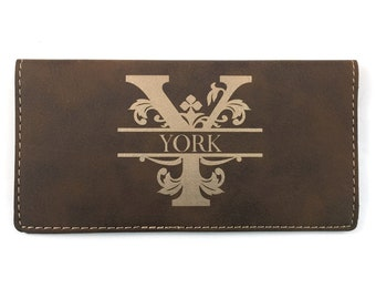 Personalized Checkbook Cover - Brown and Gold - Laser Engraved - Monogrammed
