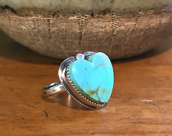 Turquoise Heart & Sterling Silver Ring