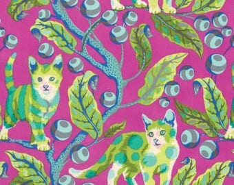 Tabby Road Disco Kitty - Berry Bird PWTP092-BERRY - HALF Yard by Tula Pink