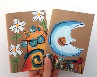 Kraft Notebook, Set of 2, Cat Notebook, Moon Notebook, 4x6 notepad, Whimsical Notebooks, Painted Notebooks, Original Gifts