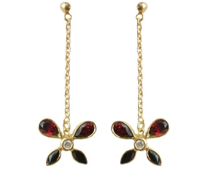 Gold on Sterling Silver Butterfly Drop Earrings with Red Garnets & Cz Stones