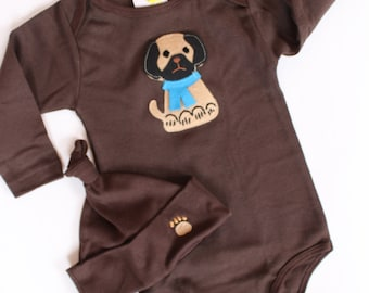 pugsly jr baby long sleeve onesie and hat