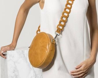 Round leather Bag, Cross body bag, Tan leather purse, Women handbag, Ariadne design in two colors. NEW