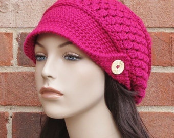 Crochet Newsboy Hat - Magenta Hot Pink Hat - Womens Slouchy Newsboy Beanie Hat - Winter Brimmed Slouchy Hat // THE FINLEY //