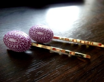 LIGURIA - Vintage Purple & White Etched Mosaic Lucite Ovals Gold Bobby Pins
