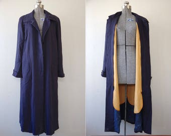 1990s Talbots Navy Single Breasted Wool Trench Coat w/ Zip Out Liner Size 12