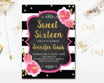Floral Sweet 16 Invitation - Black & White Stripe Sweet Sixteen Birthday Invitation - Pink Watercolor Florals - Confetti Printable Invite