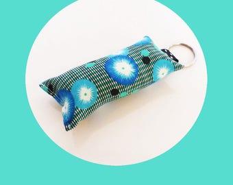 Japanese blue flowers fabric key fob