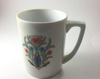 Vintage Berggen Folk Art Flower Coffee Mug