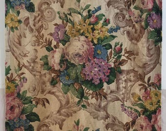 Rare, Beautiful 1930's French Printed Linen Floral Fabric (2234)