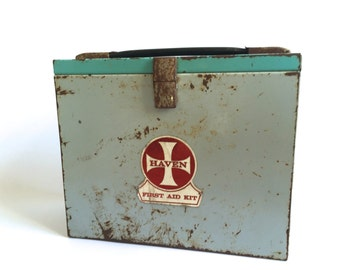 Mid century First Aid Box- industrial, turquoise