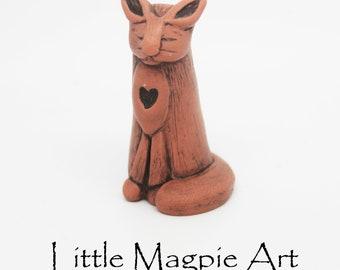 Little hand crafted cat figurine, small cat sculpture, cat totem, cat lover gift, clay cat sculpture, cat spirit