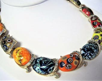 Art Glass Necklace, Millefiori Glass Cabachons, Gold Tone Setting